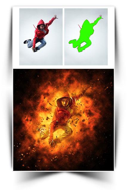 اکشن فتوشاپ با موضوع سوختن Burn Photoshop Action
